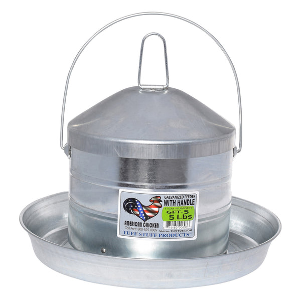 Tuff Stuff galvanized poultry feeder w/ handle - 5lbs