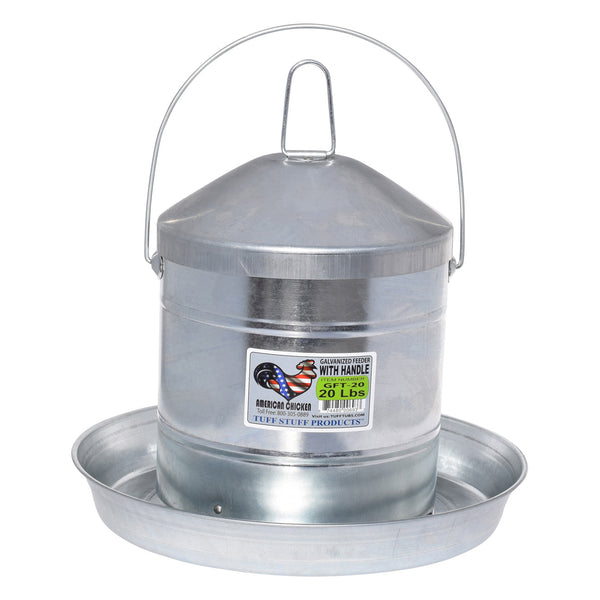 Tuff Stuff galvanized poultry feeder w/ handle - 20lbs
