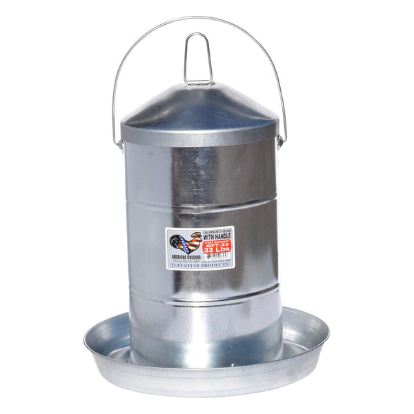 Tuff Stuff galvanized poultry feeder w/ handle - 33lbs