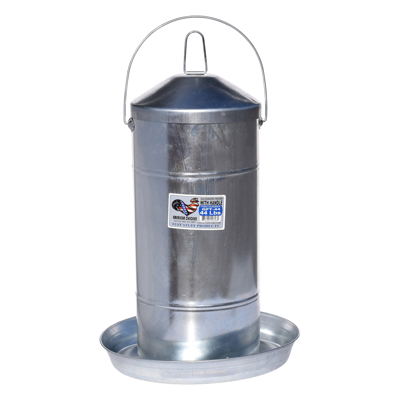 Tuff Stuff Galvanized Poultry Feeder W/ Handle - 44Lbs - Poultry Feeders Drinkers Tuff Stuff - Canada