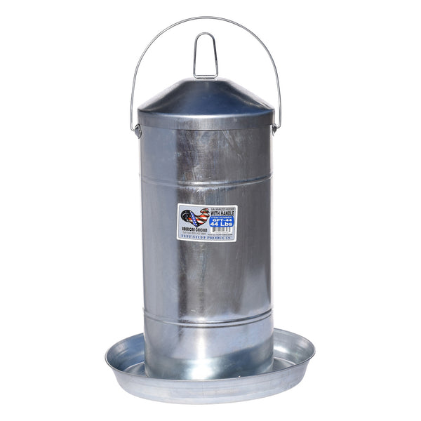 Tuff Stuff galvanized poultry feeder w/ handle - 44lbs