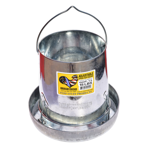 Tuff Stuff Galvanized Open Top Feeder 15Lbs - Galvanized Poultry Feeders Tuff Stuff - Canada