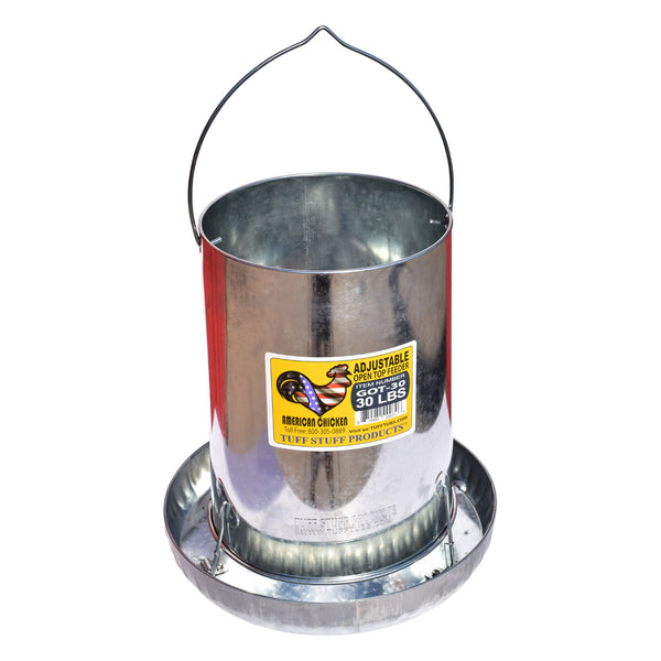 Tuff Stuff Galvanized Open Top Feeder 30Lbs - Galvanized Poultry Feeders Tuff Stuff - Canada