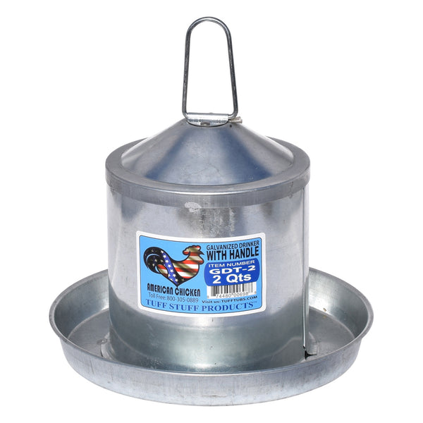 Tuff Stuff Galvanized Poultry Drinker - 2Qts - Poultry Feeders Drinkers Tuff Stuff - Canada