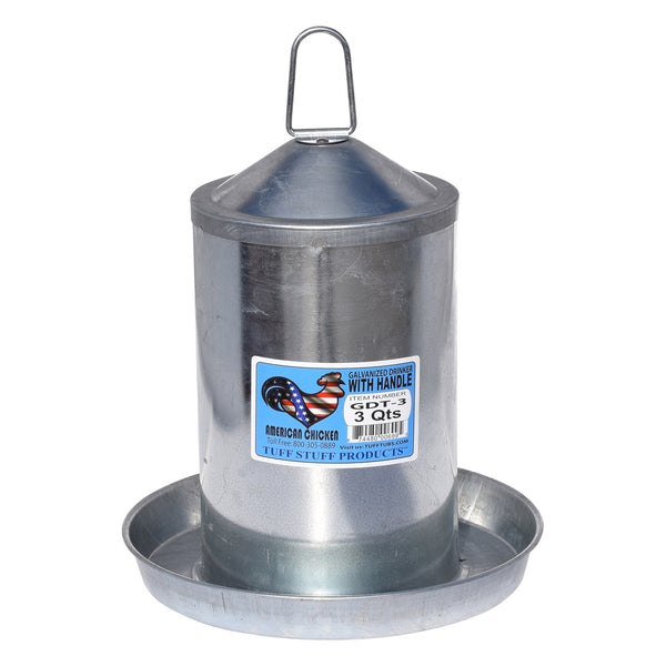 Tuff Stuff Galvanized Poultry Drinker - 3Qts - Poultry Feeders Drinkers Tuff Stuff - Canada