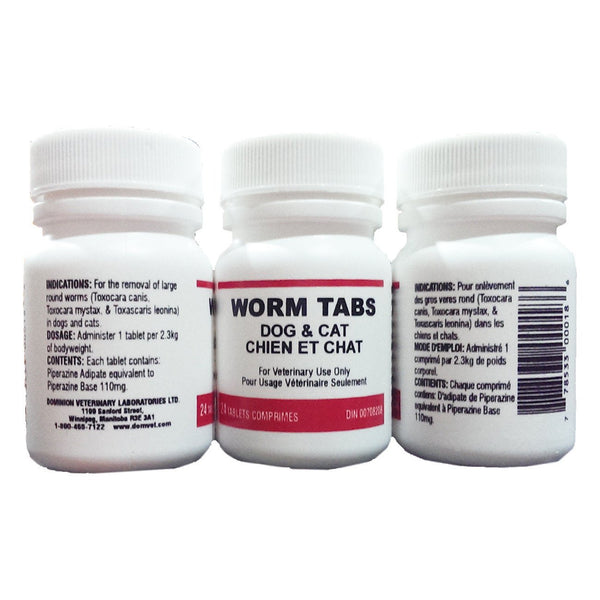 Dvl Worm Tabs - Dog And Cat (24 Tabs) - Parasiticides Dvl - Canada