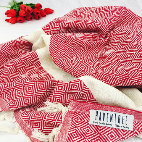 Yeliz Turkish Towel in Tulip Red by HavenTree