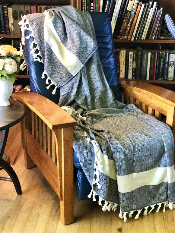 PRACTICALLY PERFECT The Yeliz Turkish Cotton Blanket (Extra Large) - HavenTree - The Self Care Shop