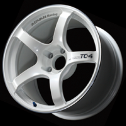 Advan TC4 18x9.5 +12 5-114.3 Racing White and Ring Wheel