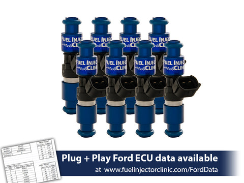 Ford F150 (1985-2003)/Ford Lightning (1993-1995) Fuel Injector Clinic Injector Set: 8x2150cc/min (200lbs/hr) at 3 bar (43.5psi) fuel pressure. Saturated / High Impedance Ball & Seat Injectors.