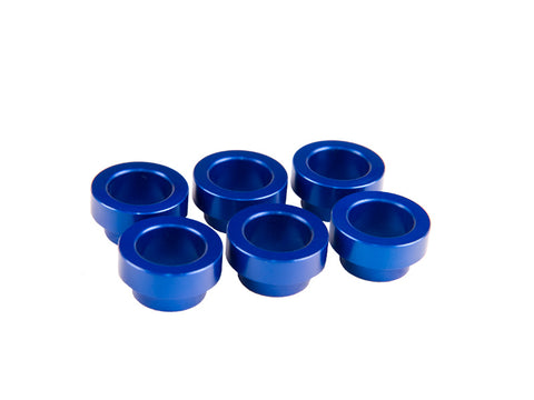 6 x FIC blue anodized Toyota Supra manifold bungs for top feed injector conversion.