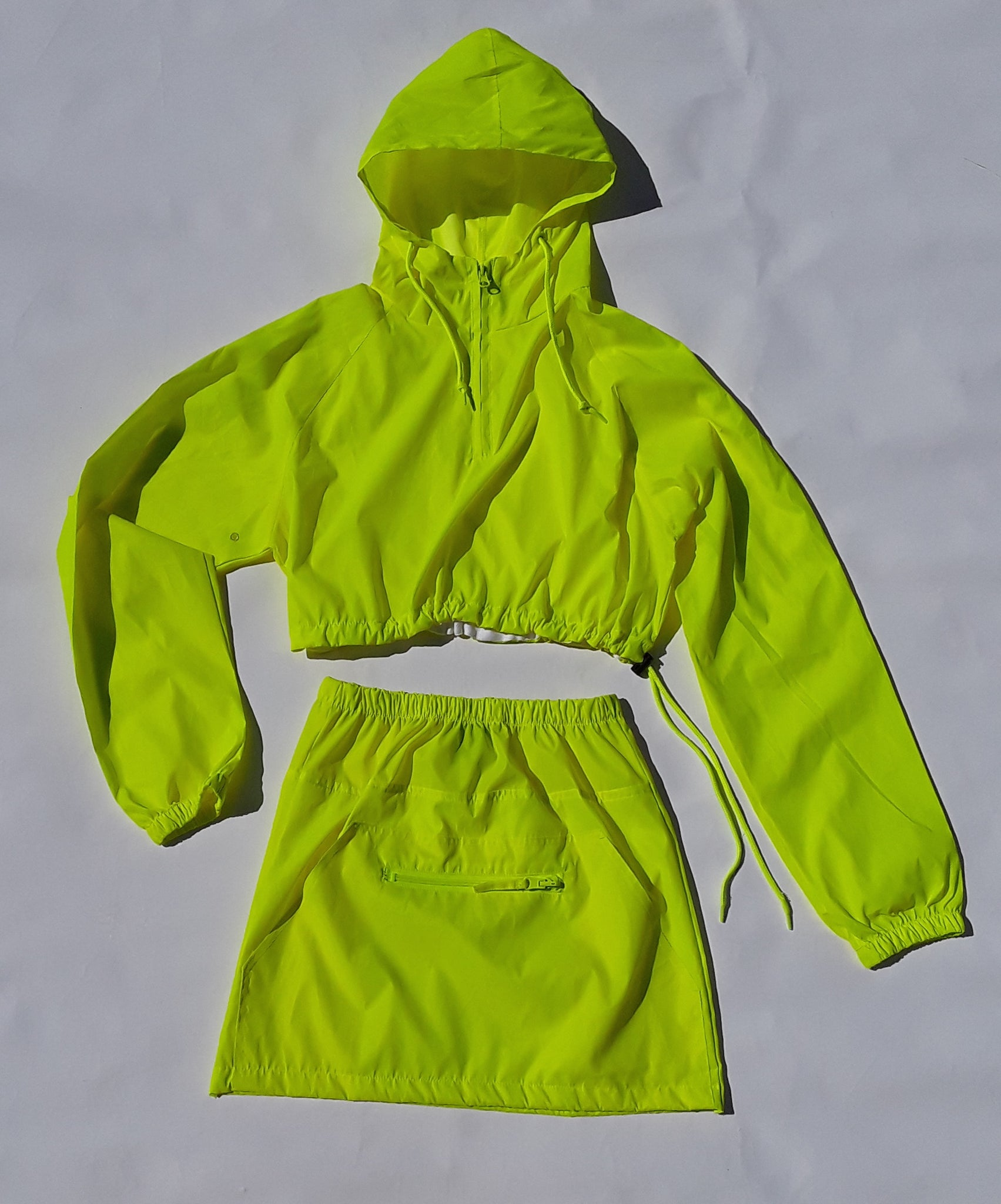 neon yellow reflective anorak crop