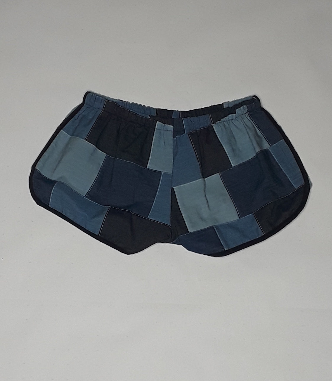 denim patchwork shorts
