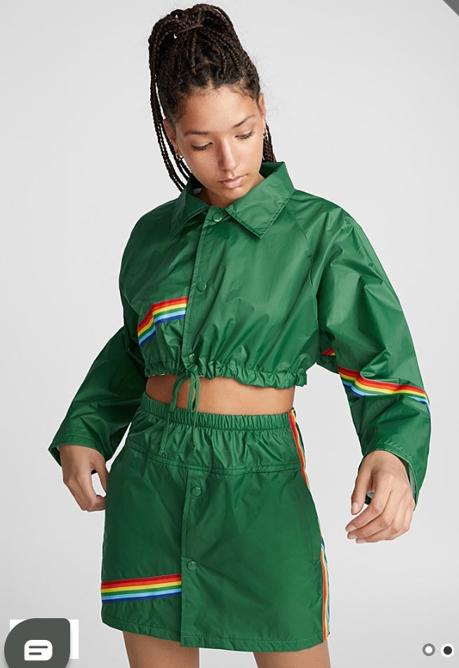 rainbow windbreaker skirt