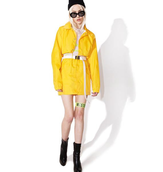 yellow crop coach jacket