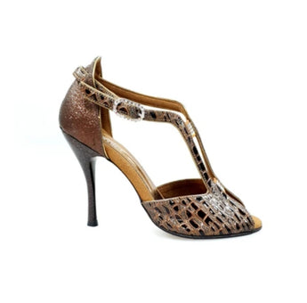 Fascino (401) - Sandalo da Donna in Dundee Marrone con Tallone in Glitter Marrone