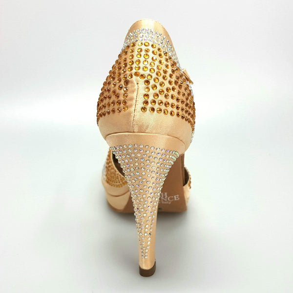 Wish Dance Shop Alexa - Scarpa da Ballo in Raso Oro Con Swarovski