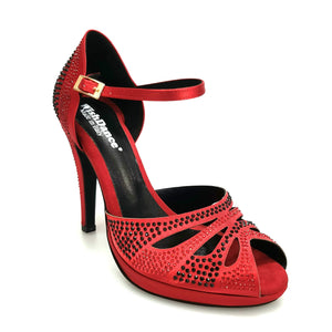 Wish Dance Shop Alexa - Scarpa da Ballo in Raso Rosso Con Swarovski