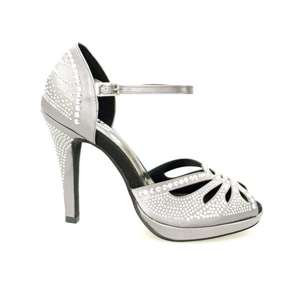 Wish Dance Shop Diamond - Scarpa da Ballo in Raso Grigio con Swarovski con Plateau