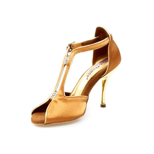 Wish Dance Shop Fascino - Sandalo da Donna in Raso Bronzo con Tacco Oro