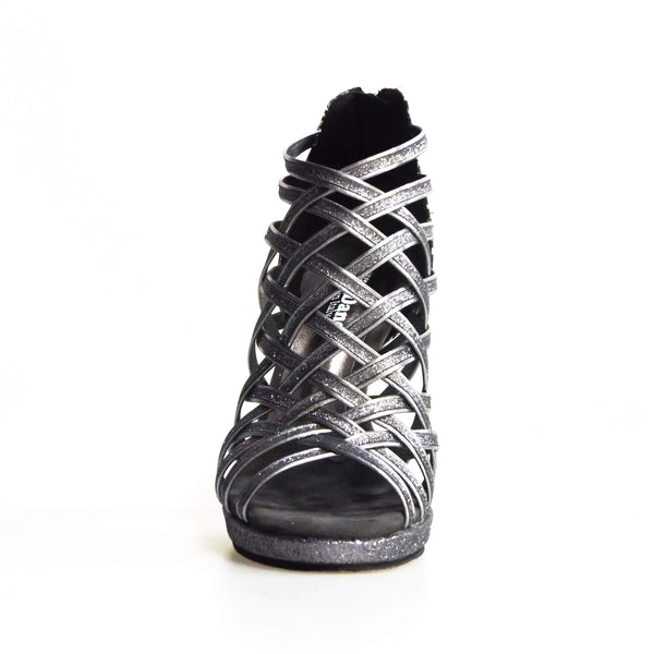 Wish Dance Shop Intrigo in Glitter Carbon e Fiorato Argento con Plateau