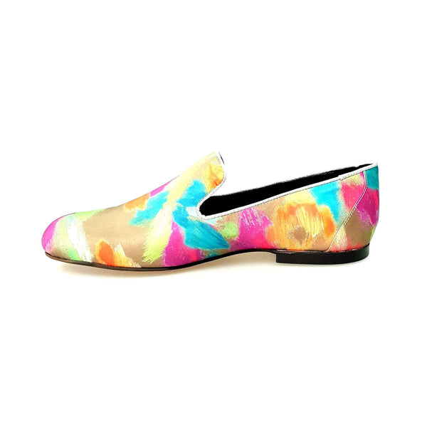 Wish Dance Shop Mocassino in Tessuto Picasso Verde con Profili in Lurex Oro