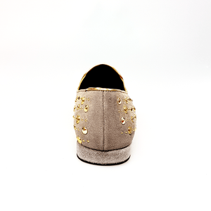 Wish Dance Shop Mocassino Jack Sparrow in Camoscio Beige Swarovski Cristall incastonati con Borchie grandi e piccole dorate