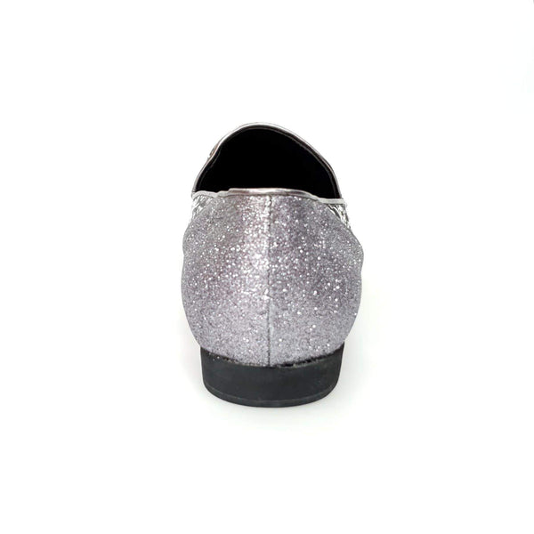 Wish Dance Shop Mocassino Uomo in Kate Grigio e Tallone in Glitter Carbon
