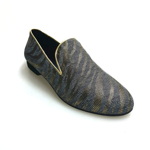 Wish Dance Shop Mocassino Uomo in Lurex Zebrato Oro