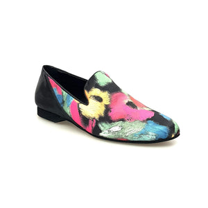 Wish Dance Shop Mocassino Uomo in Picasso Nero e Tallone in Lurex Nero