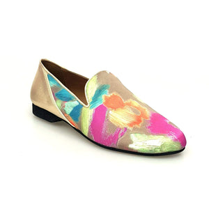 Wish Dance Shop Mocassino Uomo in Picasso Verde e Tallone in Lurex Oro