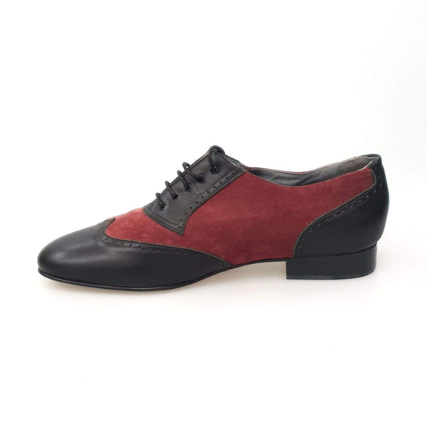 Wish Dance Shop Oxford in Vitello Nero e Camoscio Bordeaux