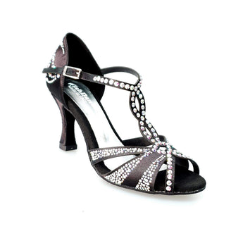 Wish Dance Shop Superb (accollata) - Scarpa da Ballo in Raso Seta Nero con Swarovski e Tacco a Rocchetto