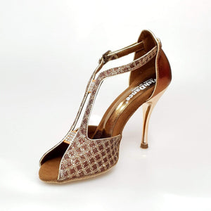 Wishdance Fascino - Scarpa da Donna in Net Glitter e Lurex Bronzo