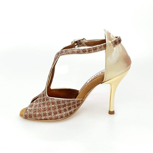 Wishdance Fascino - Scarpa da Donna in Net Glitter e Lurex Oro