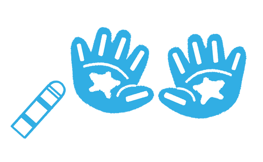 An illustration of white stars on blue hands with a blue SoaPen product to the left