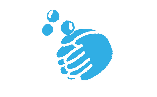 An illustration of blue hands rubbing SoaPen's product between their hands for 20-40 seconds to create a later lather with bubbles
