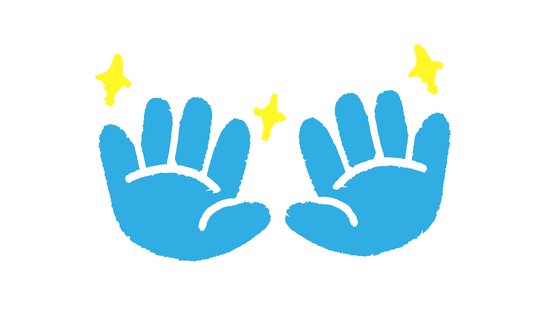 An illustration of blue hands sparkling clean from washing their hands with SoaPen