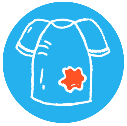 Illustration of a blue shirt with a stain that can be minimized by staying clean through the use of SoaPen