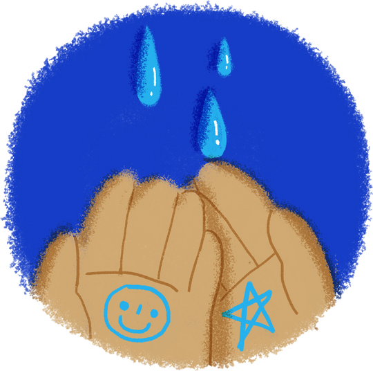 Wet hands with warm water