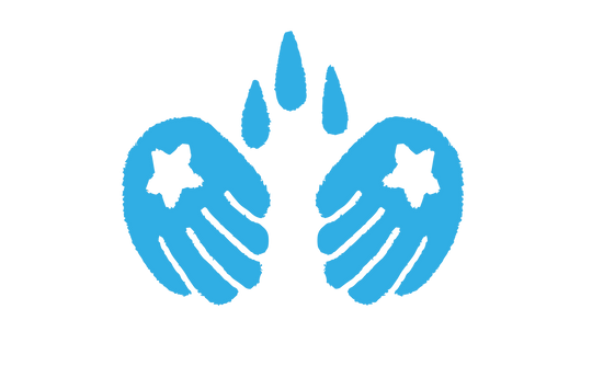 A blue illustration of three water droplets falling onto blue hands with white stars on the palms
