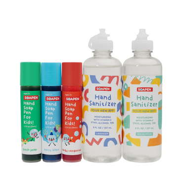 Three SoaPen products next to two SoaPen hand sanitizers
