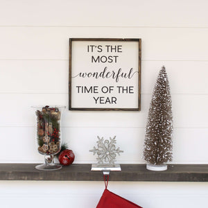 It's The Most Wonderful Time Of The Year | Wood Sign -Wood sign, farmhouse signs, rustic signs