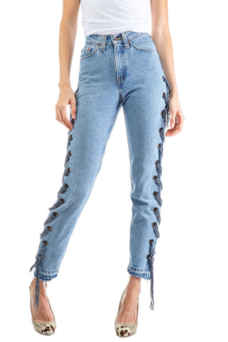 Eugenia customized distressed patchwork skinny jeans