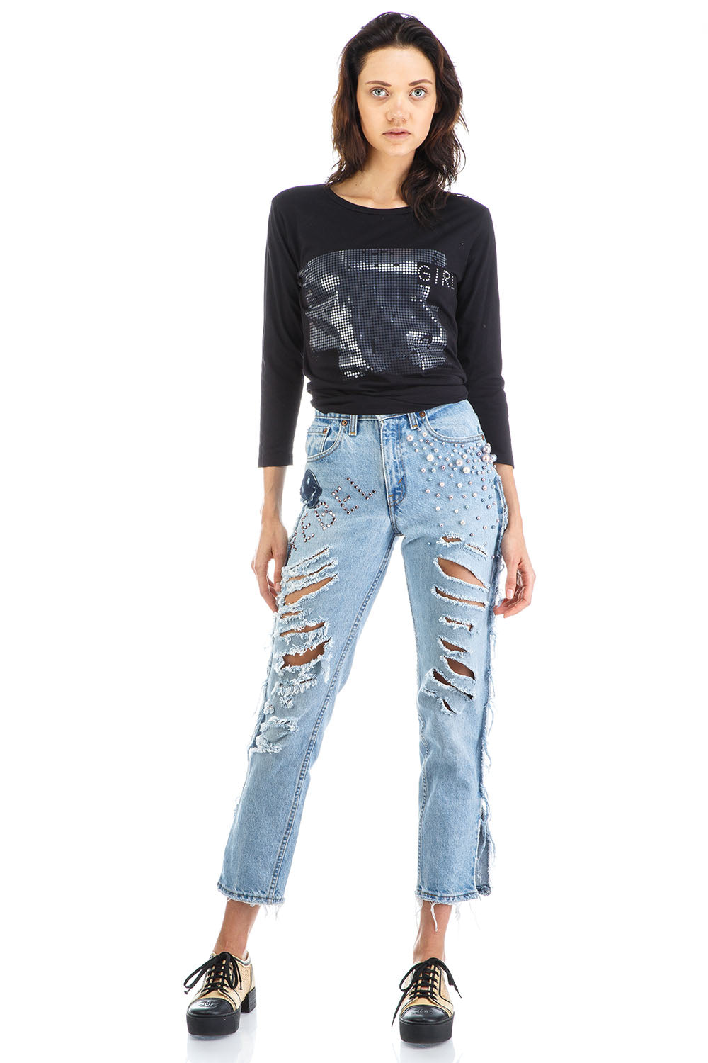 Rebel Jeans with Pearls