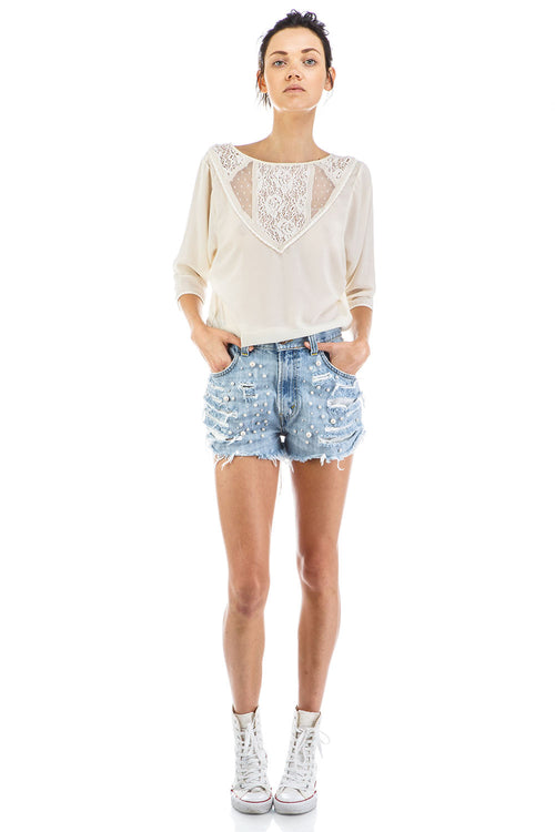 Coco Denim Vintage Shorts with Pearls