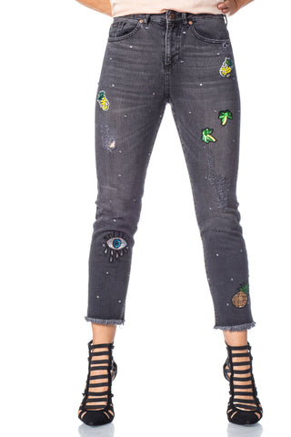 Lika customized rhinestone patchwork skinny jeans