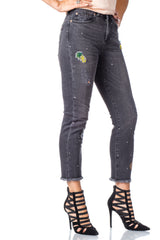 Heather black rhinestone patchwork custom jean