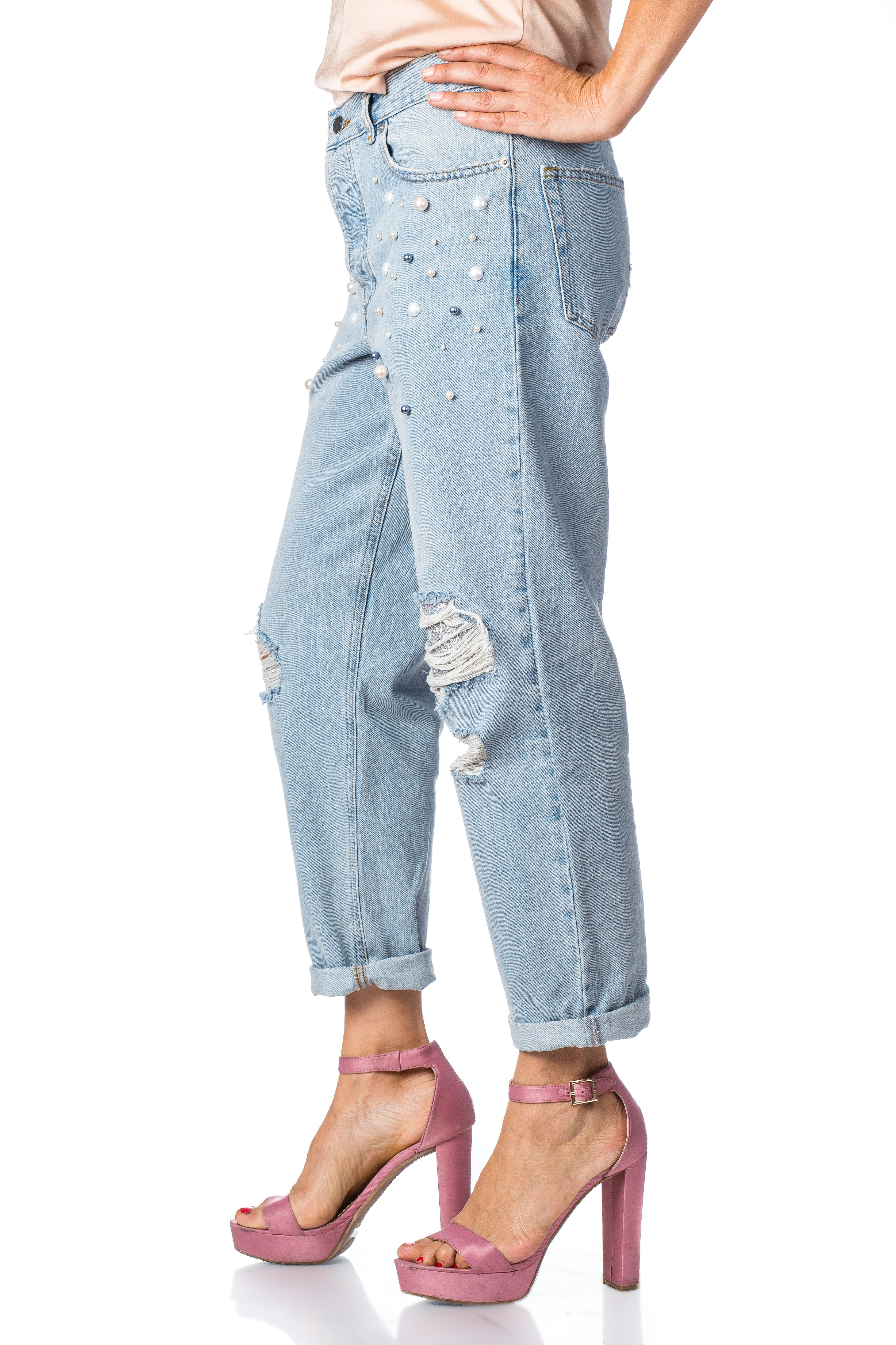 Kelly pearl encrusted high waisted distressed boyfriend jean