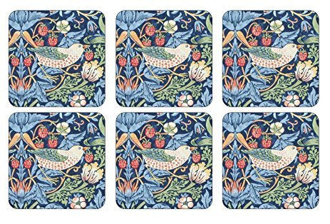 "Pimpernel Strawberry Thief Blue4x4"" Coaster s/6 - Britannia Kitchen & Home Calgary"